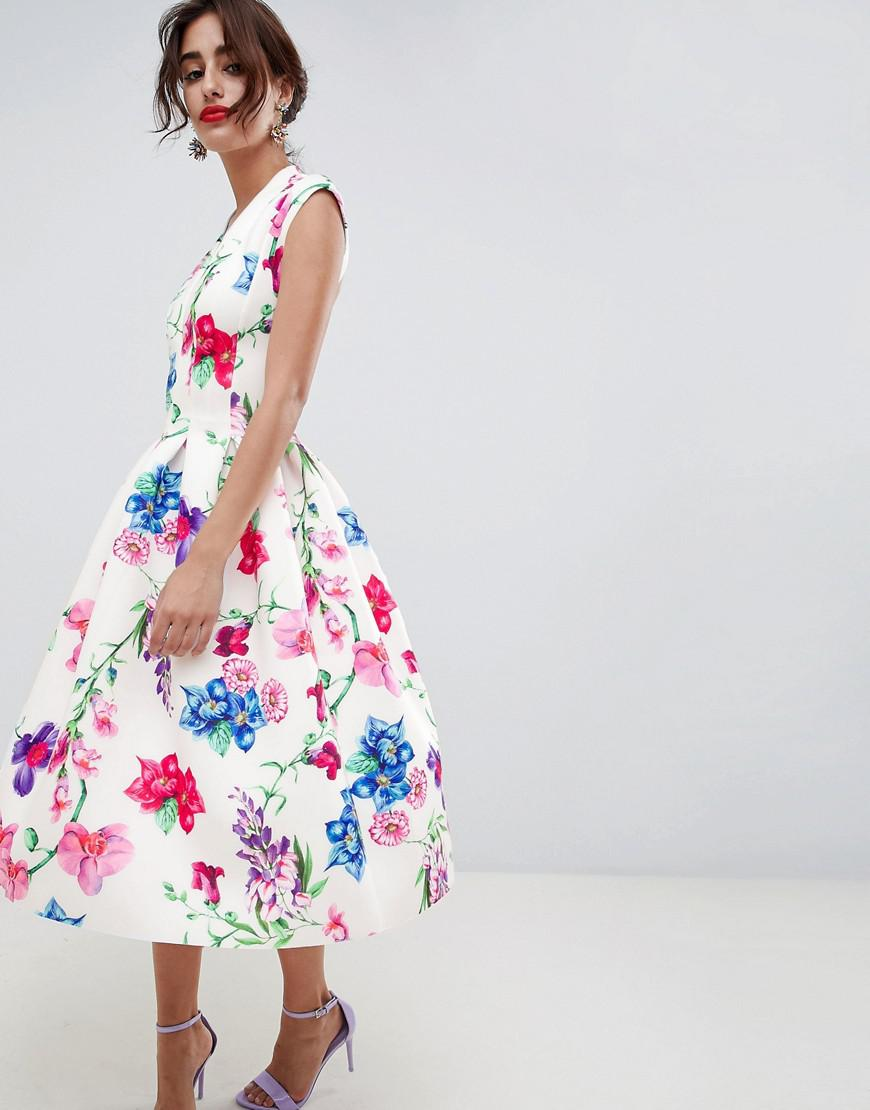 795a9313d7 ASOS. Women s Botanical Paneled Deep Plunge Prom Midi Dress