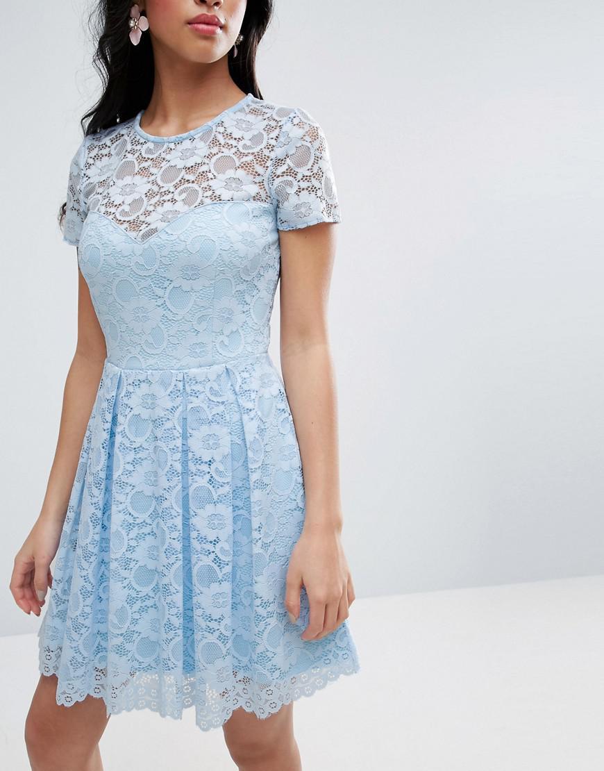 3f7aefff82 Lyst - ASOS Lace Skater Mini T-shirt Dress in Blue