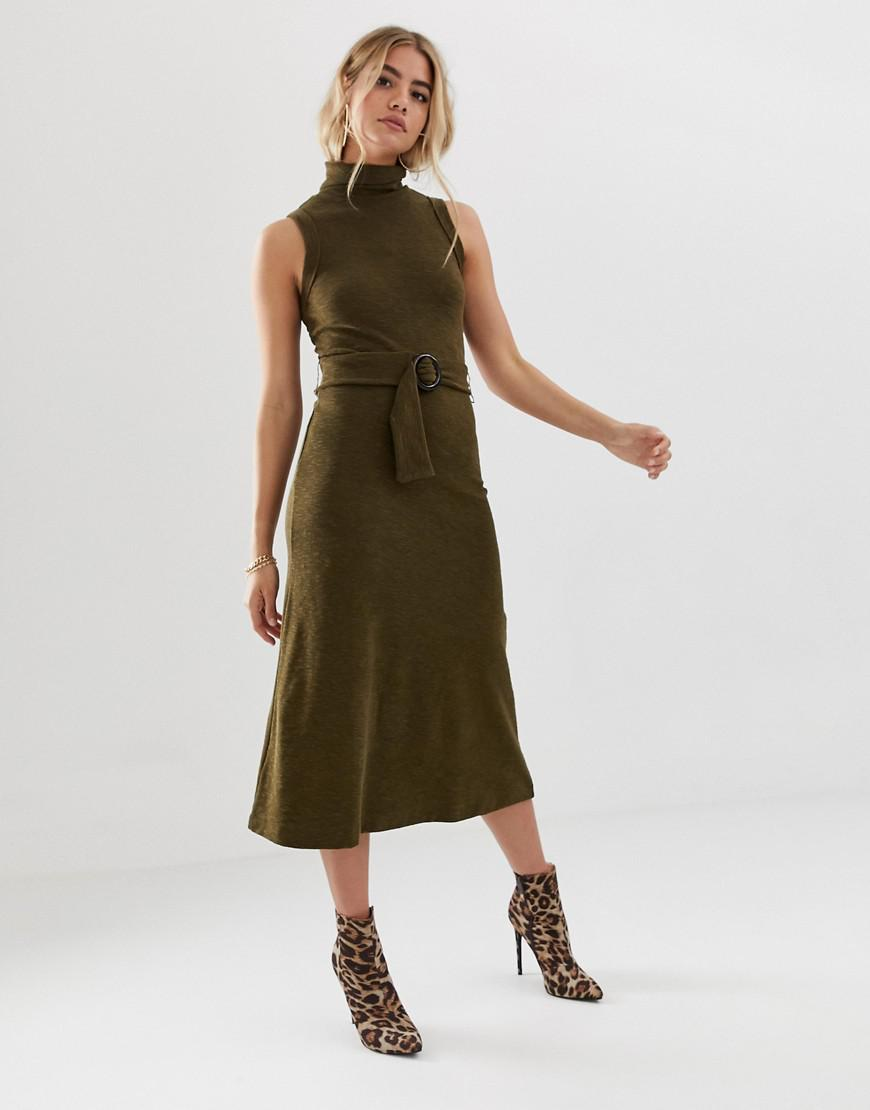 6df1e7c7204c Lyst - ASOS Midi Dress With Roll Neck And Self Belt in Green