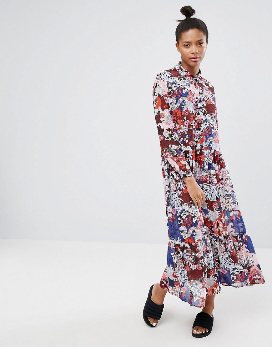 13a7ae935f Monki Floral Printed High Neck Maxi Dress - Lyst