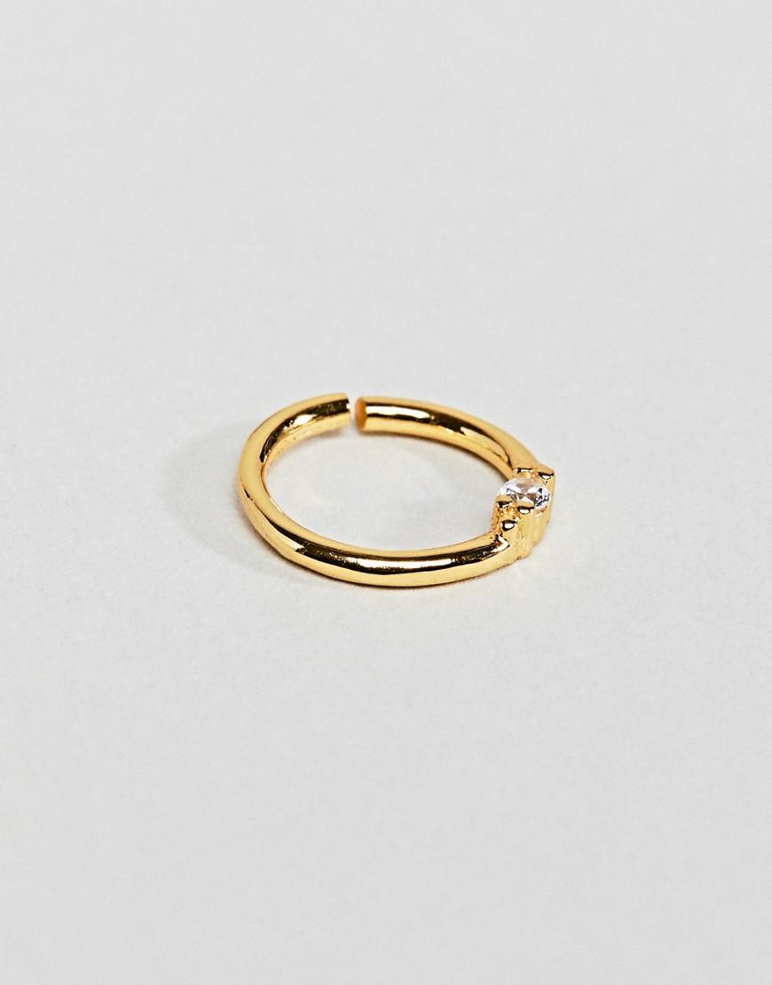 Sterling Silver 18K Gold Plated Septum Piercing Mini Hoop - Gold Regal Rose NxxL3