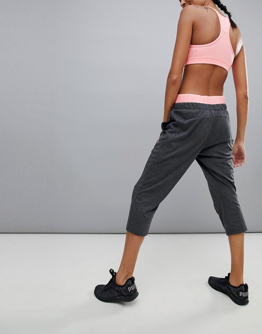 53bb97ed2d36 Lyst - PUMA Active Essential 3 4 Banded Pants With Pink Waistband in Pink