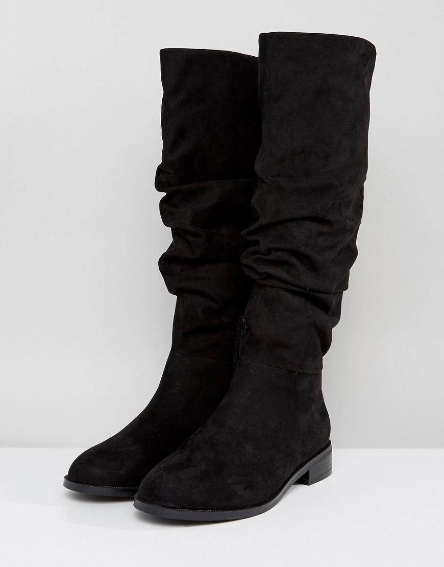 2c47de5fd6c ASOS Asos Capital Wide Fit Slouch Knee Boots in Black - Lyst