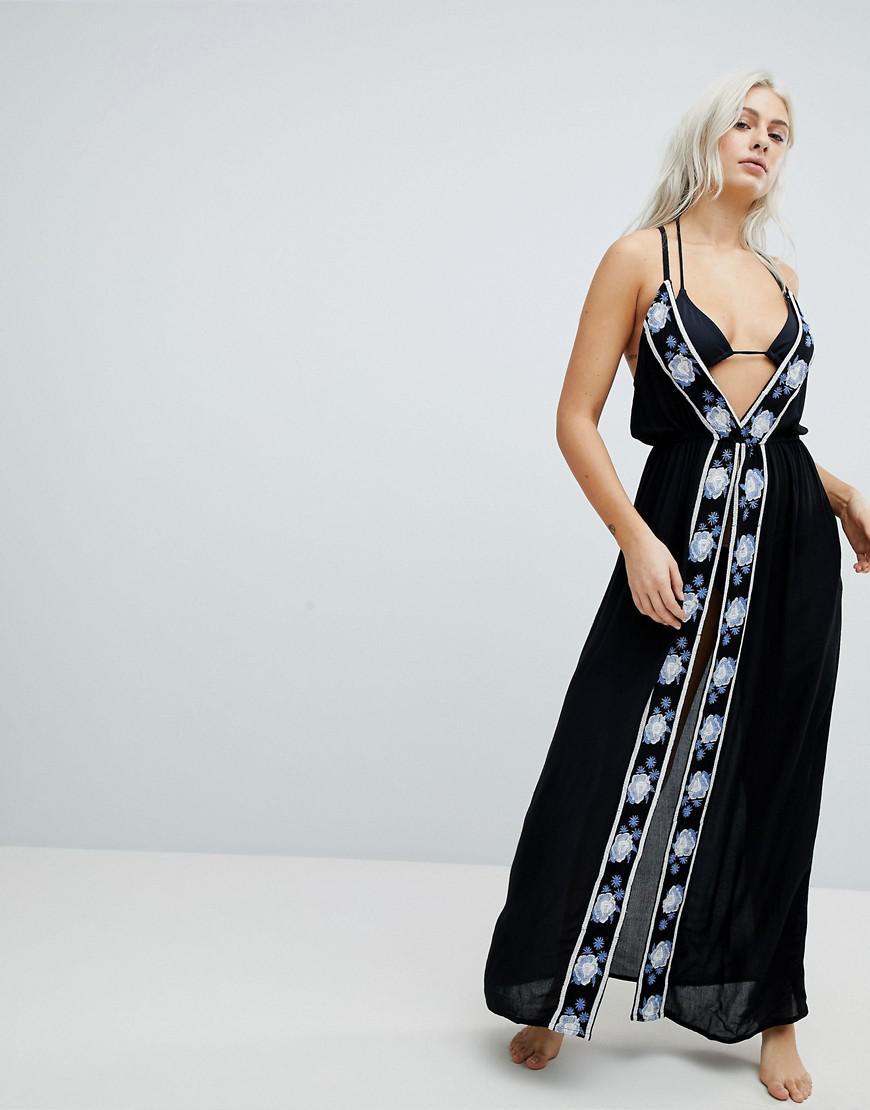 1e1cab6663 Lyst - Liquorish Split Front Maxi Beach Dress With Embroidery in Black