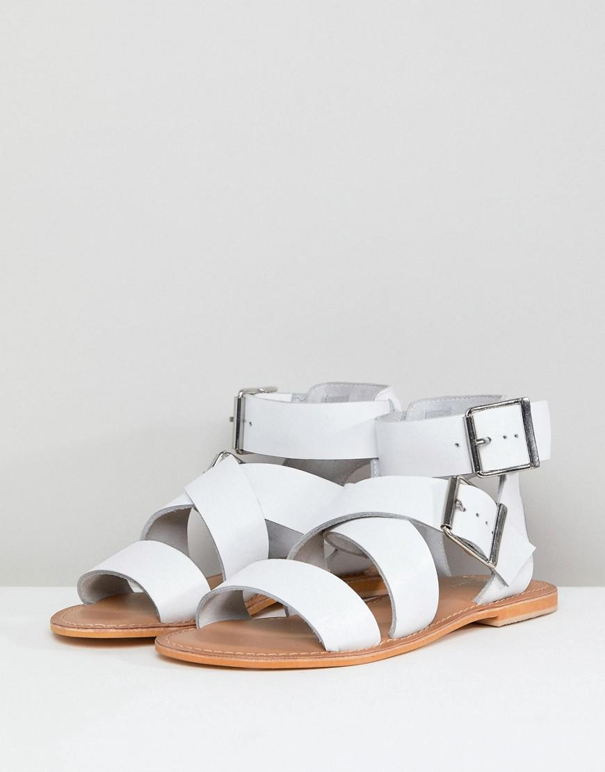 cec0bfcd4226 ASOS Asos Fargo Leather Gladiator Flat Sandals in White - Lyst
