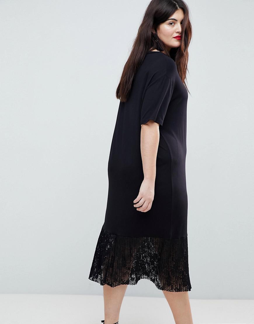 6c2235ebf40d1 ASOS Midi T-shirt Dress With Pleated Lace Hem in Black - Lyst