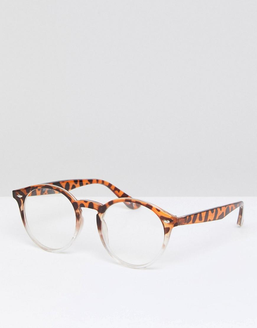 08e18d9694 Lyst - ASOS Round Glasses In Tort Fade With Clear Lens in Brown for Men