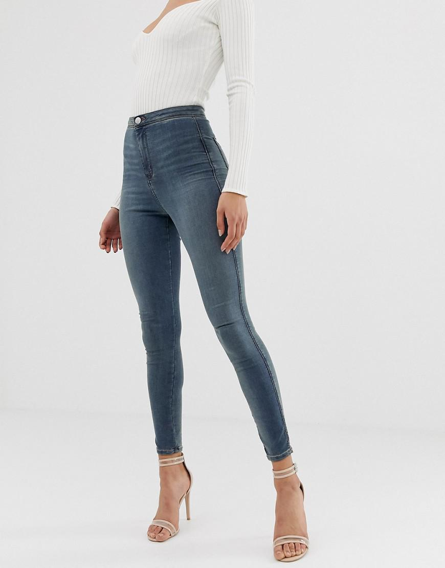 3784d916 Lyst - ASOS Rivington High Waisted jeggings In Smokey Blue Wash in Blue