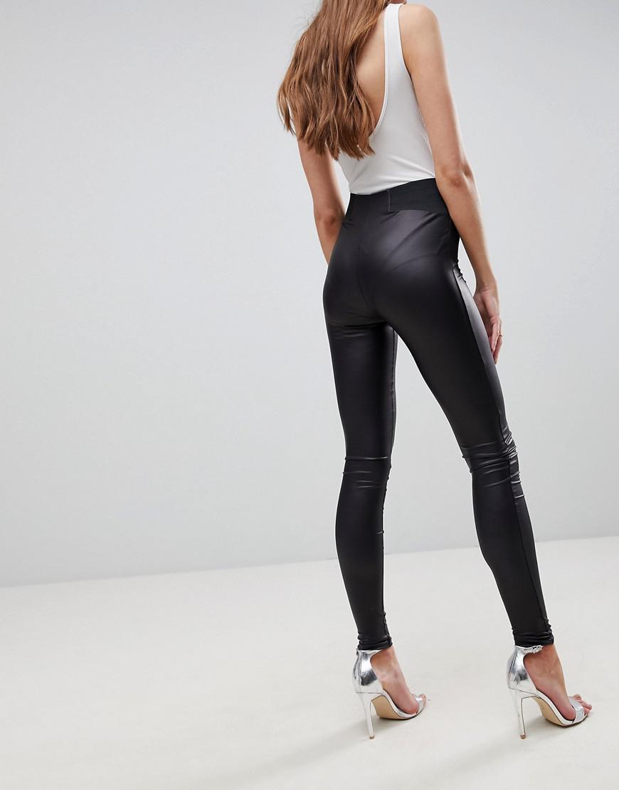 fb525b6b7da7a ASOS - Black Asos Design Tall Leather Look leggings With Elastic Slim Waist  - Lyst. View fullscreen