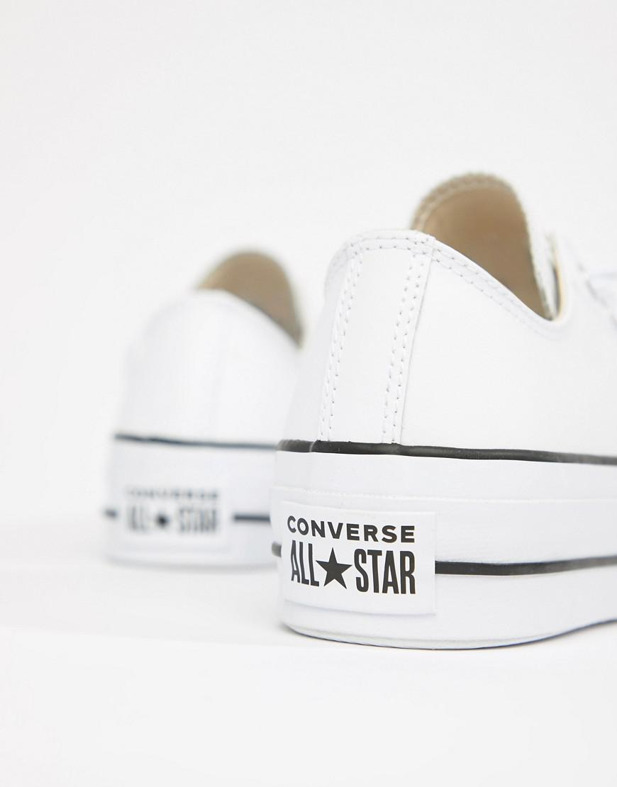 317a832f21a8 Lyst - Converse Chuck Taylor All Star Leather Platform Low Sneakers In  White in White
