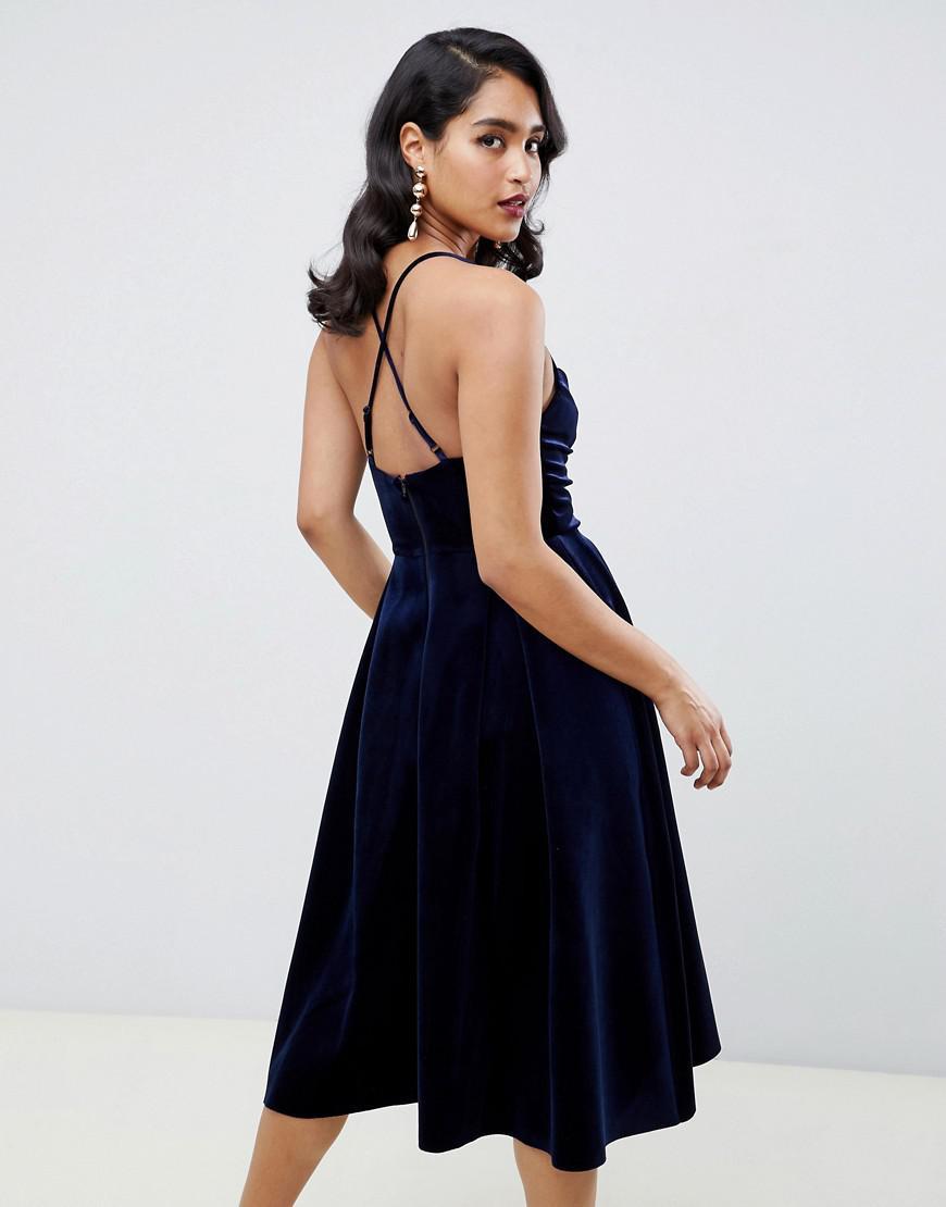 73f7a20253c4d Lyst - ASOS Bonded Velvet Cami Wrap Prom Midi Dress in Blue