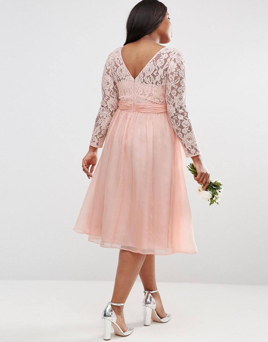29115cd5c10 Lyst - ASOS Wedding Midi Dress With Lace And Bow Detail in Pink