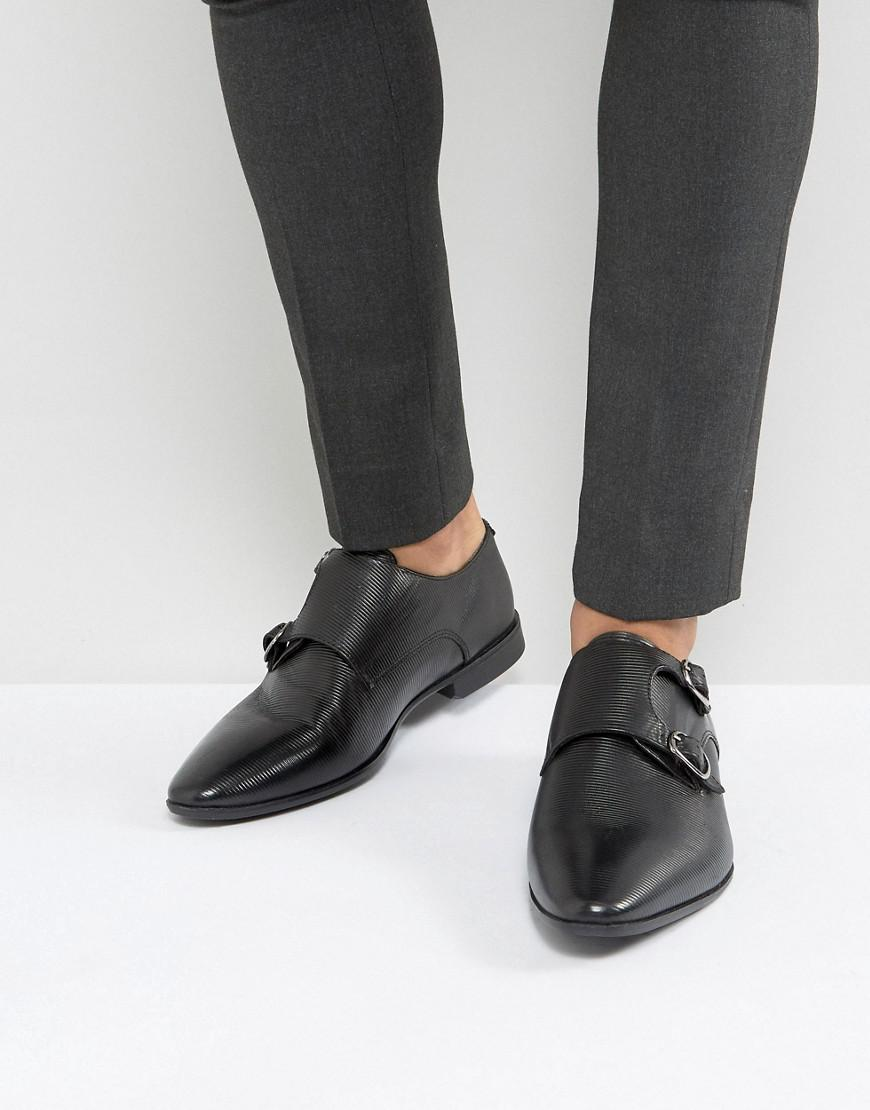 Chaussures De Moine En Asos Simili Cuir Noir Avec Panneau Gaufré - Noir dNOwr