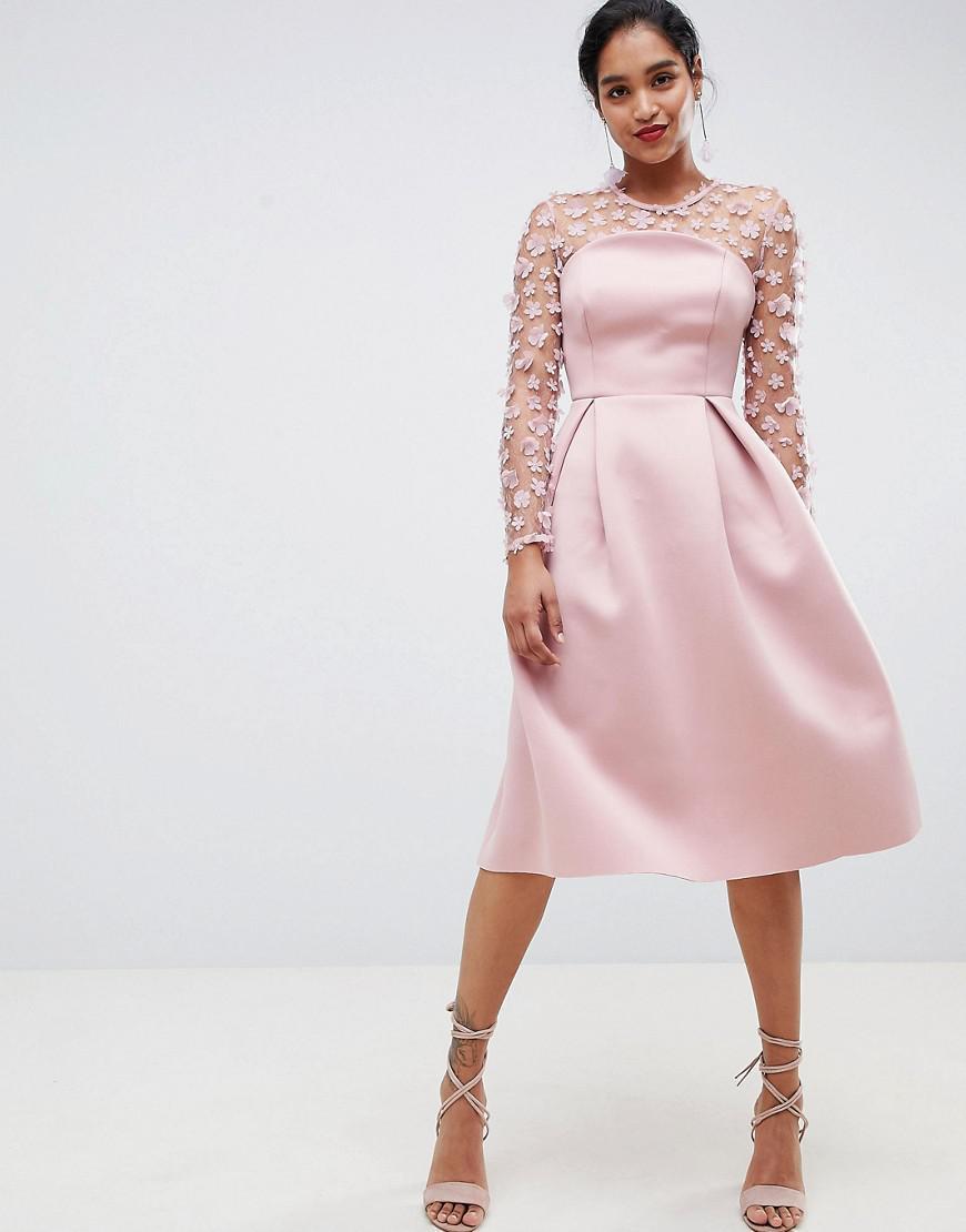 b44941d307d25 ASOS 3d Floral Lace Bandeau Scuba Prom Midi Dress in Pink - Lyst