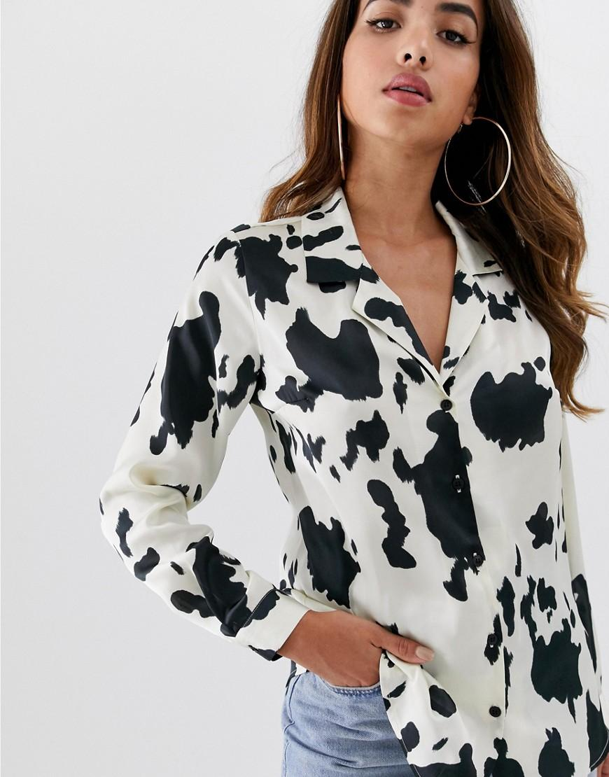 76c3d49d0615 Lyst - ASOS Relaxed Satin Long Sleeve Shirt In Cow Animal Print