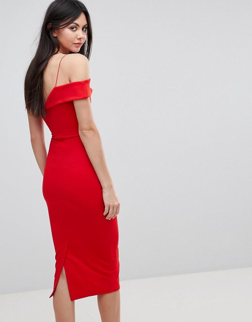 de5dc95de4383 Lyst - ASOS Scuba Strappy Bardot Pencil Midi Dress in Red