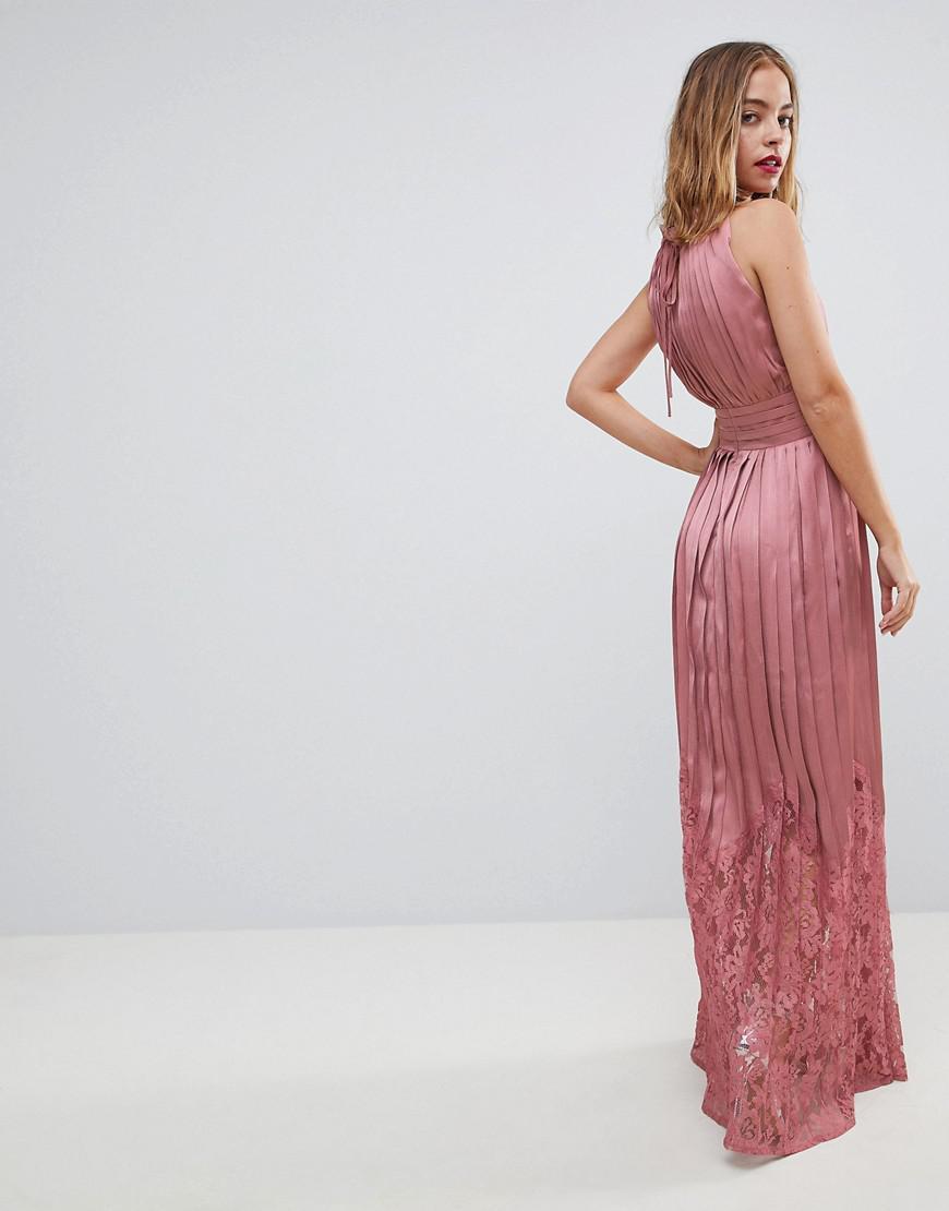 23b3371b04 Little Mistress Ruffle High Neck Maxi Dress With Lace Pleated Skirt ...