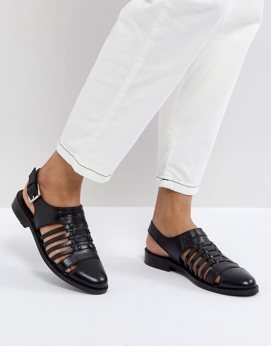 c5e4678c7eb0 Asos Design Asos Marylebone Leather Woven Flat Shoes in Black - Lyst
