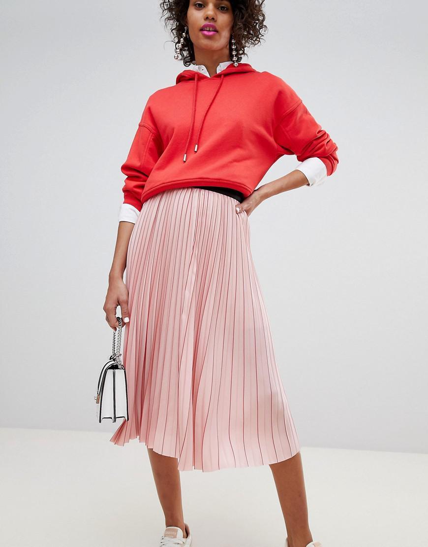 a4bf63bff1c Stradivarius Plisse Midi Skirt in Pink - Lyst