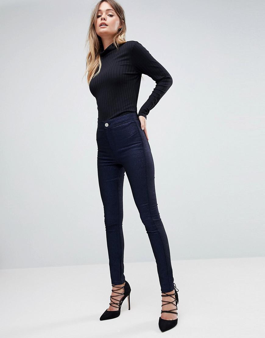 Rivington Haute Jeggings Denim Taille Haute En Tissu De Scintillement - Asos Bleu De Scintillement O2bx8z