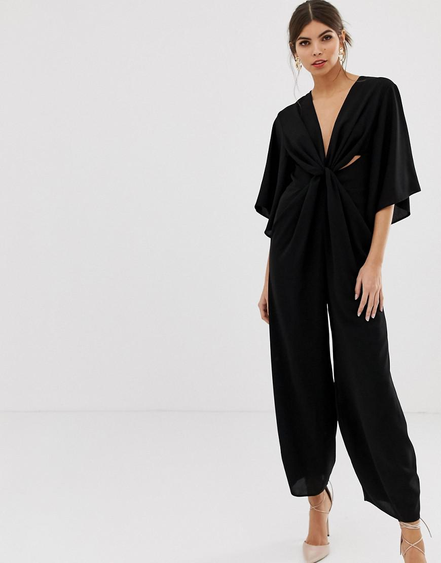 fda0e34a18e Lyst - ASOS Kimono Sleeve Jumpsuit With Twist Front in Black