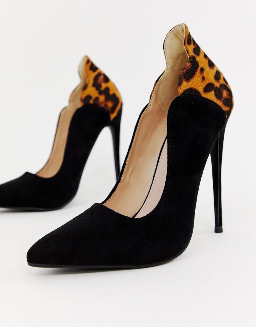 41de54d7c9bc Lyst - Lost Ink Tammy Leopard Print Court Shoes in Black