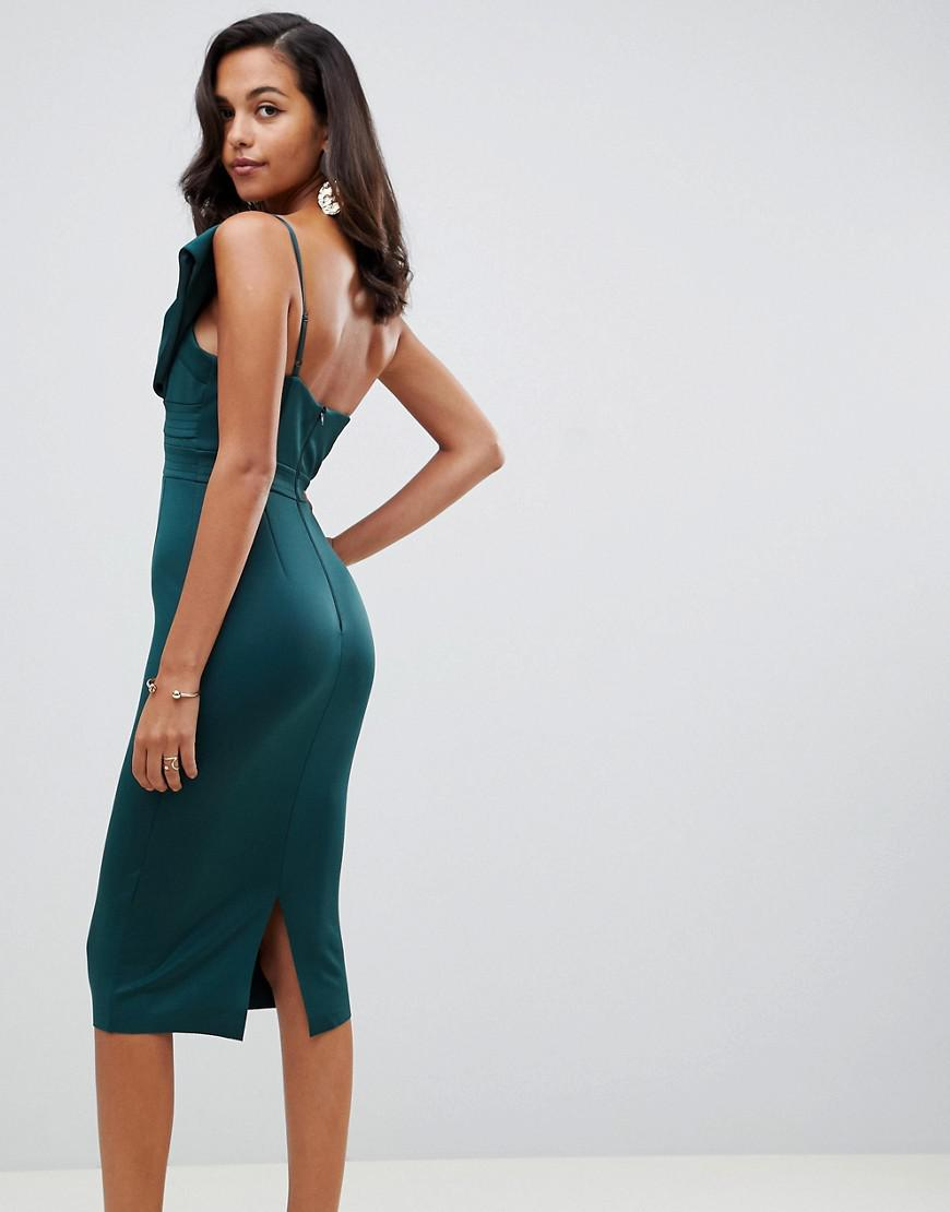 22041f8e0b2 ASOS - Green Bandeau Bow Detail Scuba Midi Bodycon Dress - Lyst. View  fullscreen