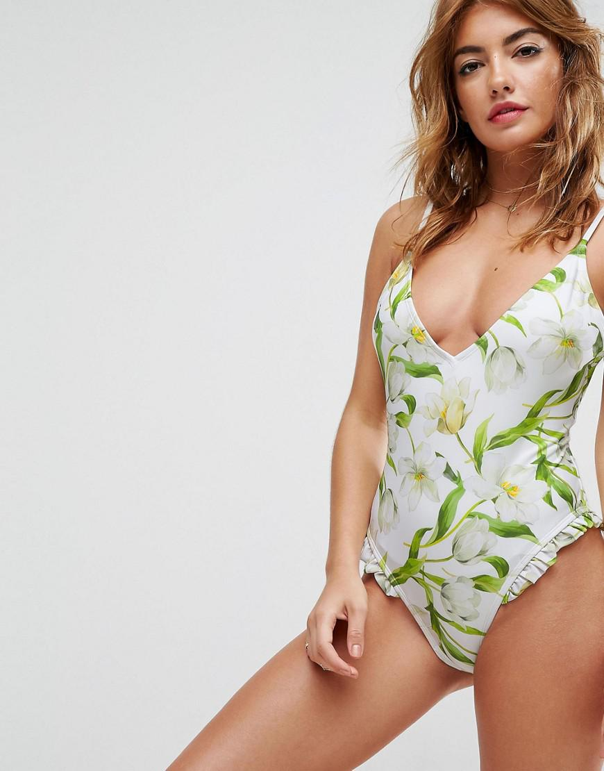 FULLER BUST Riviera Floral Print Cupped Frill Bandeau Swimsuit DD-G - Riviera floral Asos Shop For Discount In China Discount Top Quality zdA1h36da