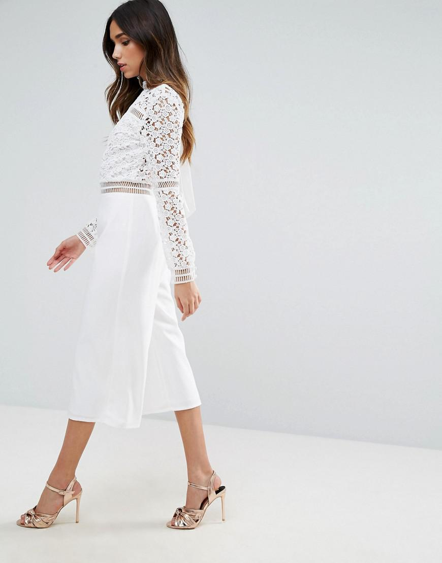 hot-selling authentic meet select for genuine ASOS White Premium Lace Jumpsuit With Open Back And Culotte Leg
