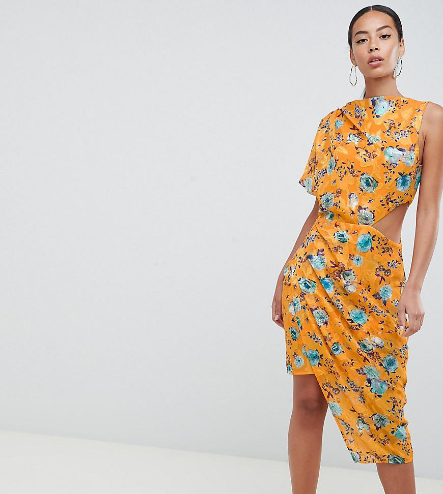 Asos Asos Design Tall Midi Dress In Printed Jacquard With Open Back ... a3dd8cb12