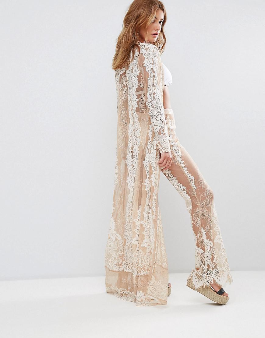 5b834da36 Missguided Premium Lace Maxi Kimono in White - Lyst