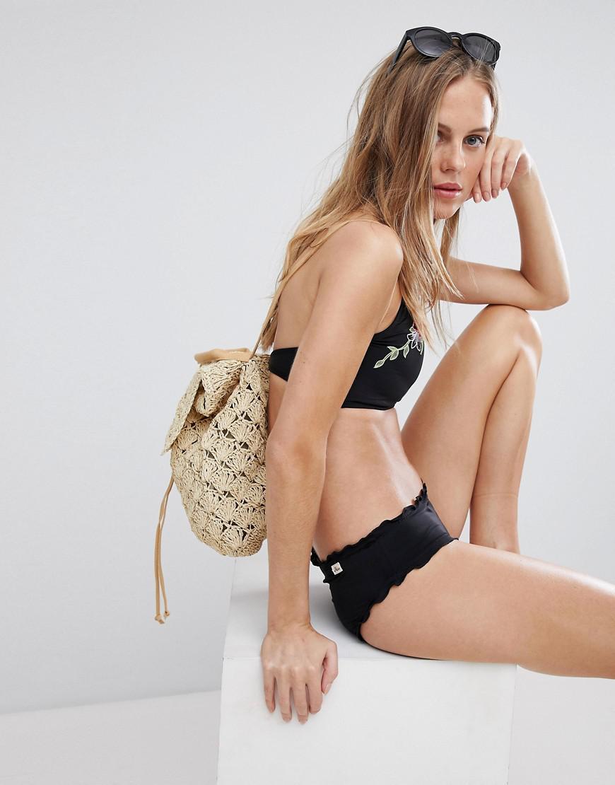 Ruffled Hem Bikini Bottom - Black Hobie Free Shipping Fake q0yF0C