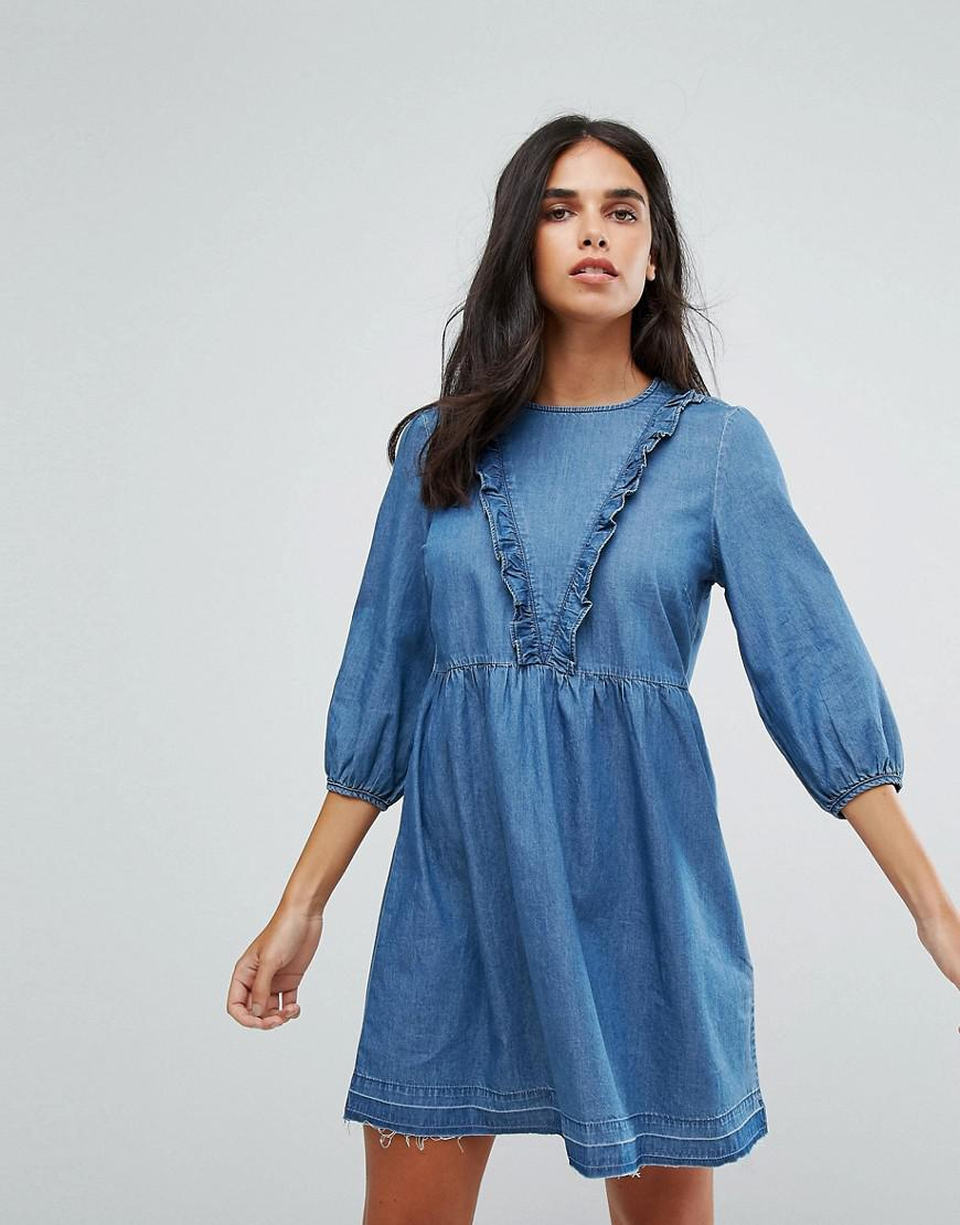 27df1f8a5a18 Lyst - ONLY Frill Detail Chambray Skater Dress in Blue
