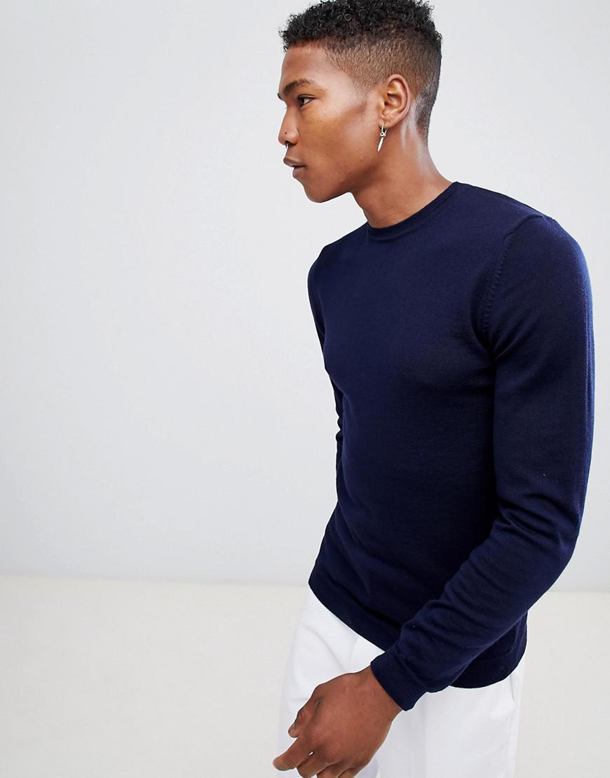 df0b5cb7 ASOS Asos Muscle Fit Merino Wool Sweater In Navy in Blue for Men - Lyst