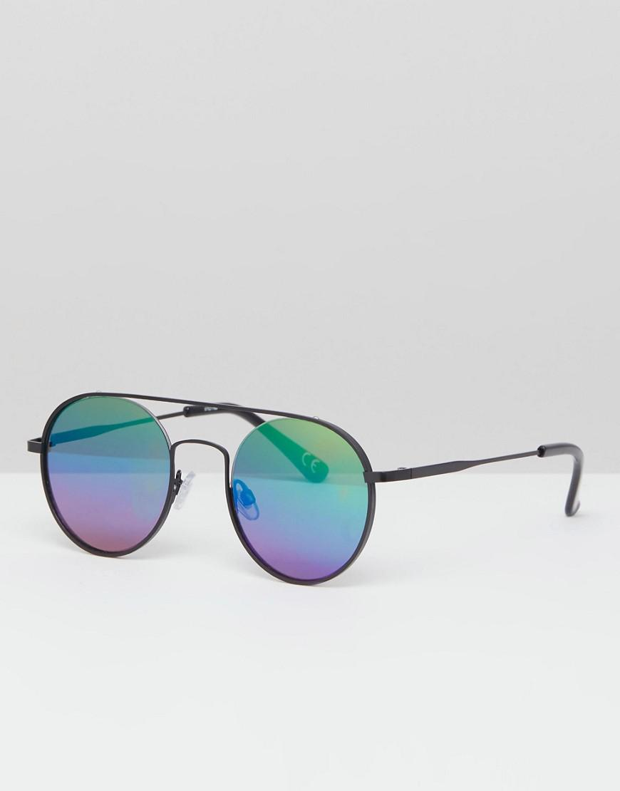 6e5d58b073 ASOS Round Sunglasses In Black Metal With Rainbow Mirrored Lens in ...