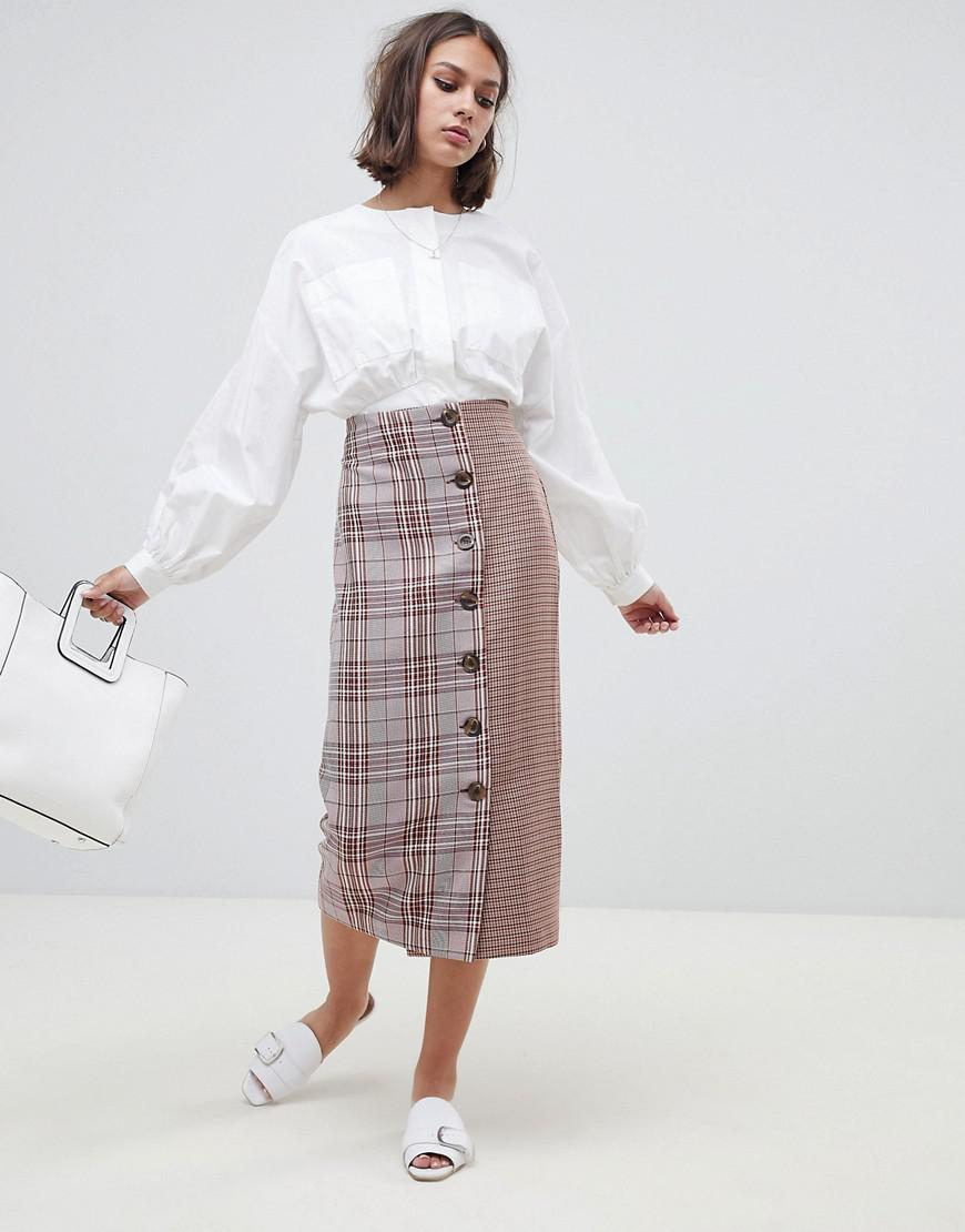 1ad714841 ASOS Tailored Cut About Check Button Midi Skirt - Lyst