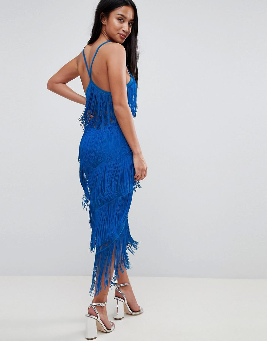 2d9274e6173 ASOS Fringe   Lace Plunge Bodycon Midi Dress in Black - Lyst