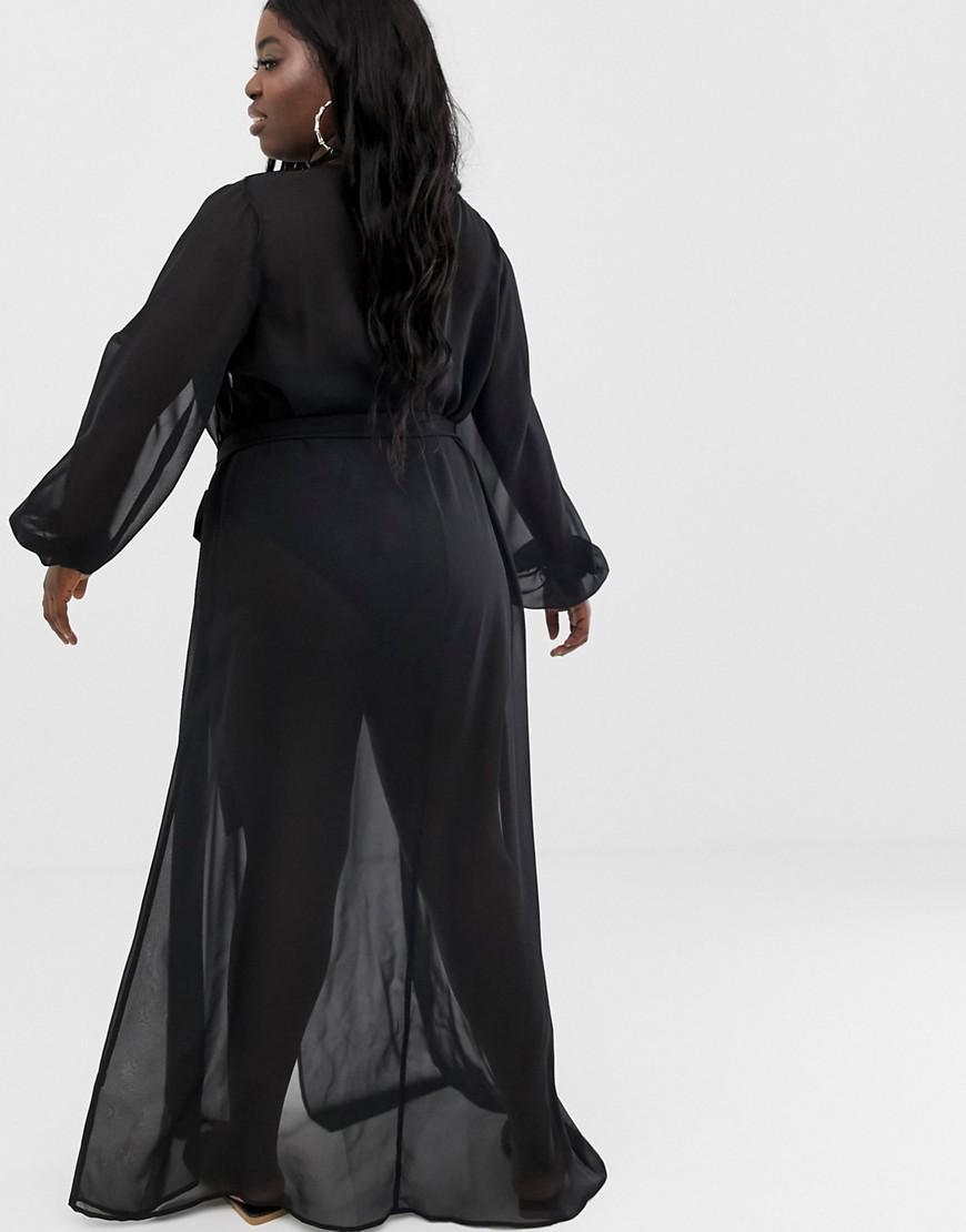 3616283a0e ASOS Asos Design Curve Recycled Long Sleeve Wrap Tie Chiffon Maxi Beach  Kimono In Black in Black - Lyst