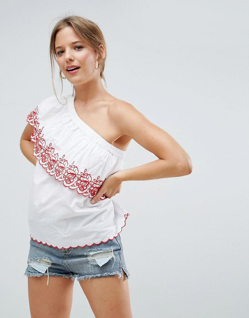 Clearance The Cheapest Free Shipping Newest One Shoulder Top in Cotton with Cutwork & Embroidery - Black/ white Asos Outlet Official Site tnPKns6w6