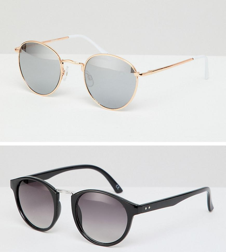 41bb45da8d Lyst - ASOS Round Sunglasses 2pk In Black With Smoke Lens   Rose ...