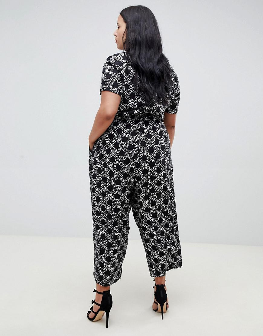 46aab018563 Lyst - ASOS Asos Design Curve Spot And Floral Print Jumpsuit With Short  Sleeve in Black