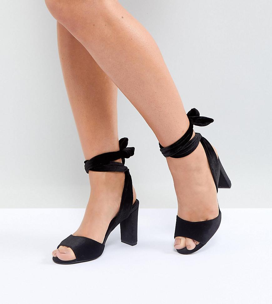 Velvet Ankle Tie Block Heel Sandals - Black New Look MvCo6XT