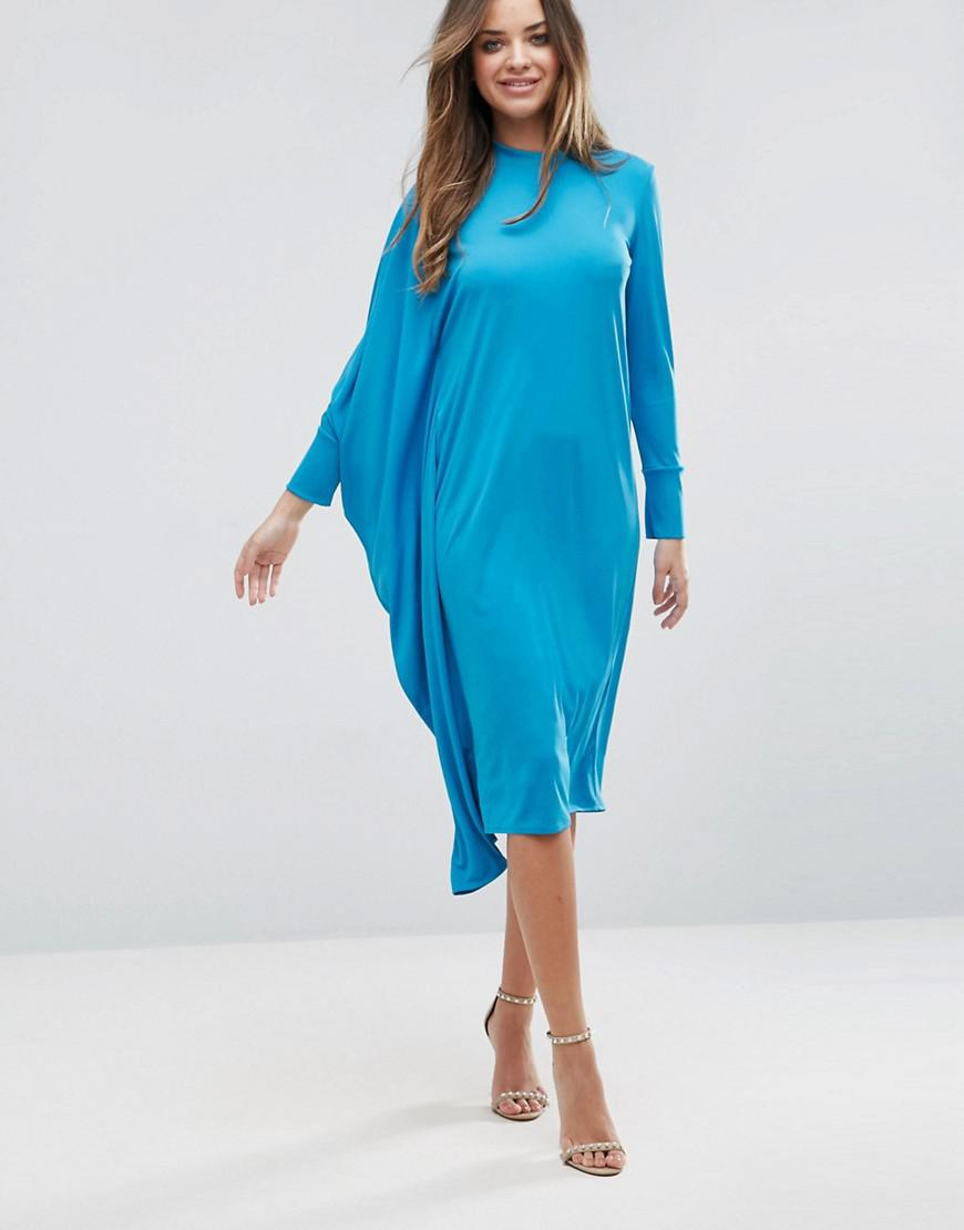 Oversized Midi Dress With Asymmetric Batwing Sleeve - Turquoise Asos Pay With Visa Cheap Online Buy Cheap Low Price Clearance With Credit Card Buy Cheap Big Sale wVItTy