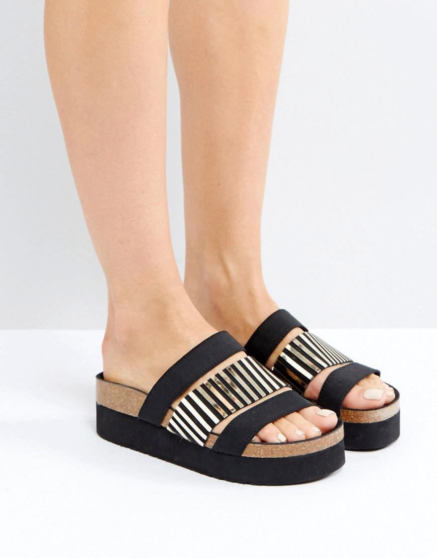 235507f9f81 Sixtyseven Black Triple Strap Slider Sandals in Black - Lyst