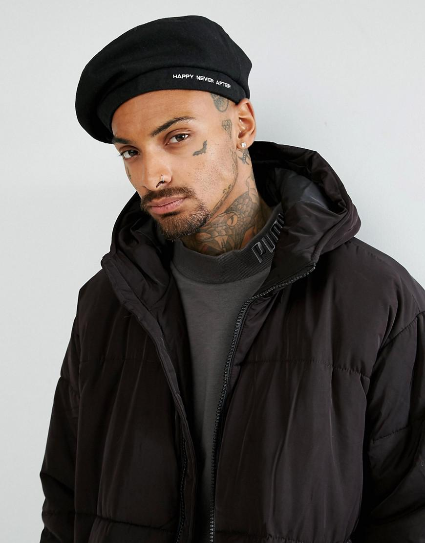 Lyst - ASOS Beret In Black With Happy Never After Embroidery in ... 60e3c697809