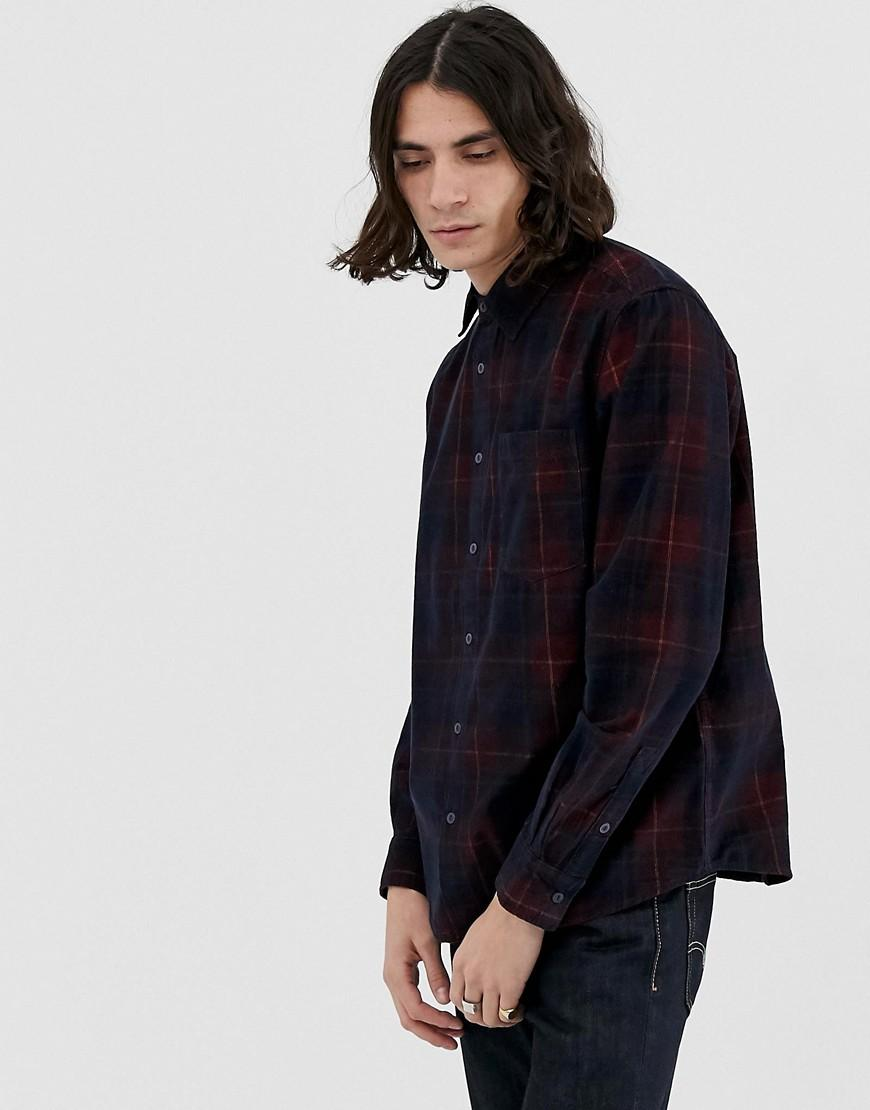 c92f522408 Pull Bear Cord Shirt In Burgundy Check in Red for Men - Lyst
