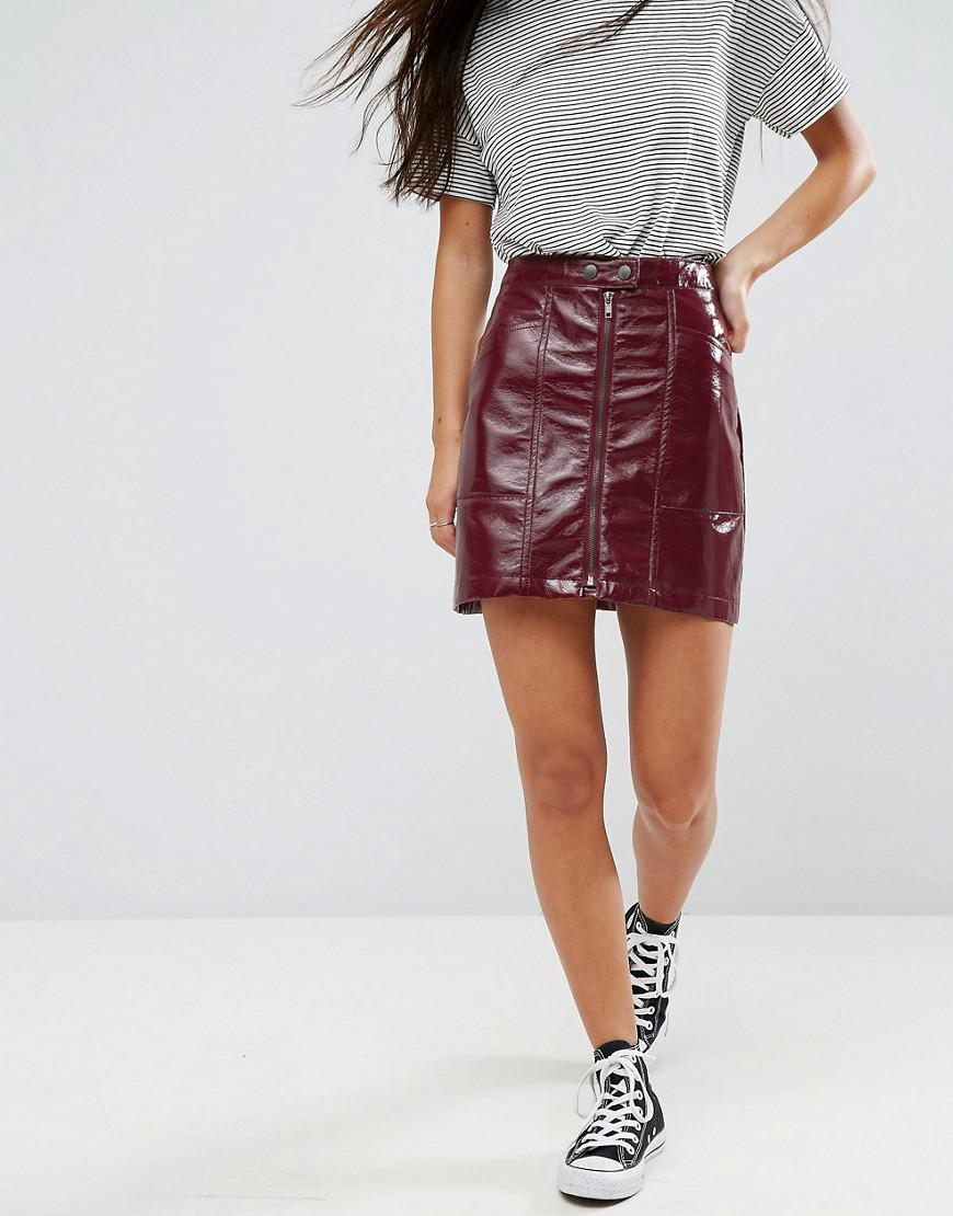 f96c868f22 New Look Cracked Vinyl Mini Skirt in Red - Lyst