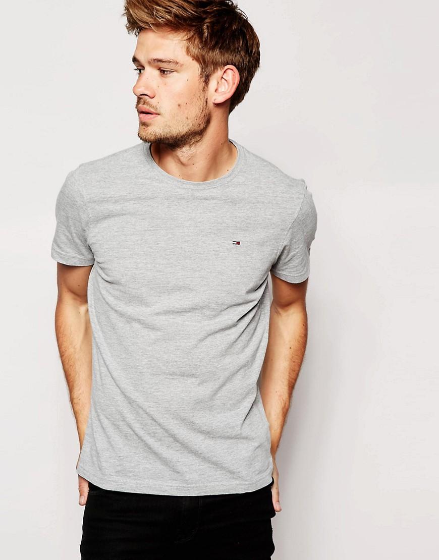 hilfiger denim tommy t shirt with crew neck in gray for. Black Bedroom Furniture Sets. Home Design Ideas