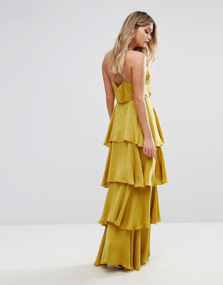32668c1a6e Missguided Tiered Ruffle Maxi Dress in Yellow - Lyst