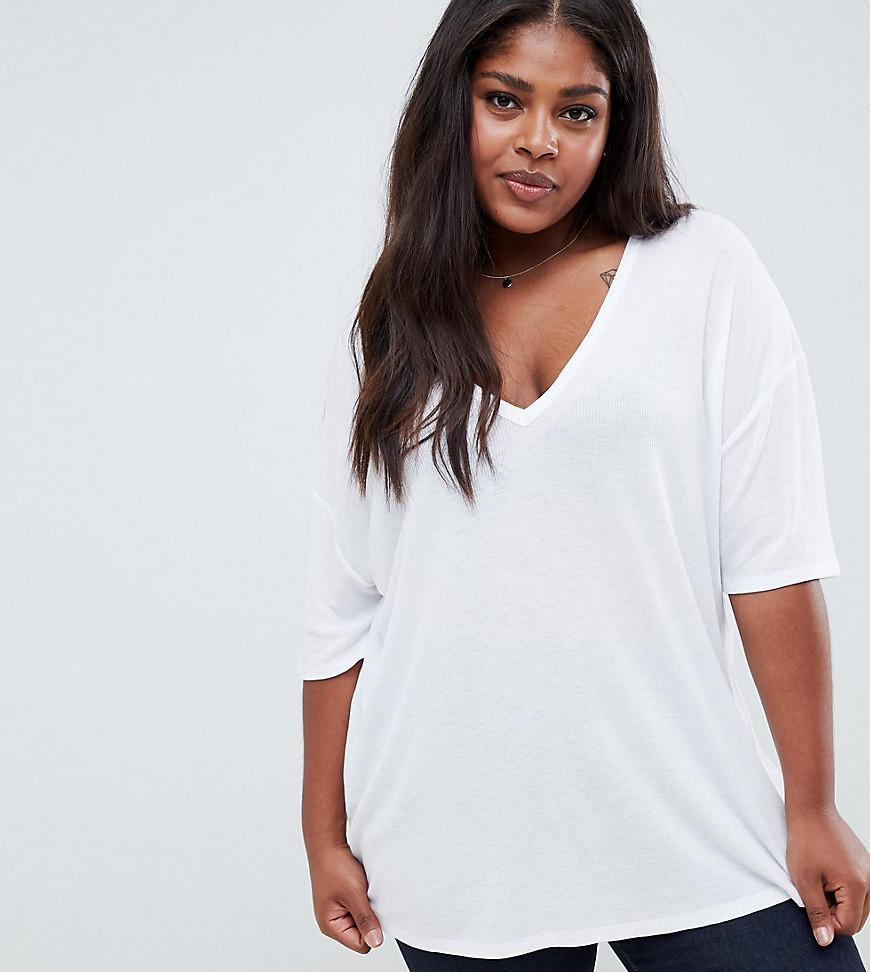 Asos asos design curve oversized v neck t shirt in for Asos design free t shirt